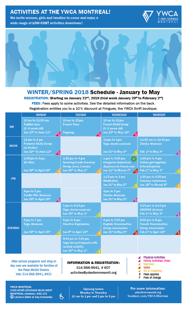 YWCA-Activities-Schedule_W2018-EN